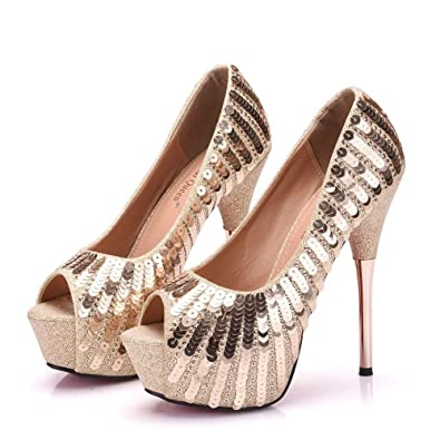 8fa8135204b Women Gold Pumps Bling Bling High Heels Thin Heels Pumps Peep Toe Gold  Party Shoes Sexy