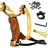 Professional Slingshot Stainless Steel Outdoor Hunting Sling Shot High Velocity Catapult with 2 Rubber Bands and 90 Extra Slingshot Ammo