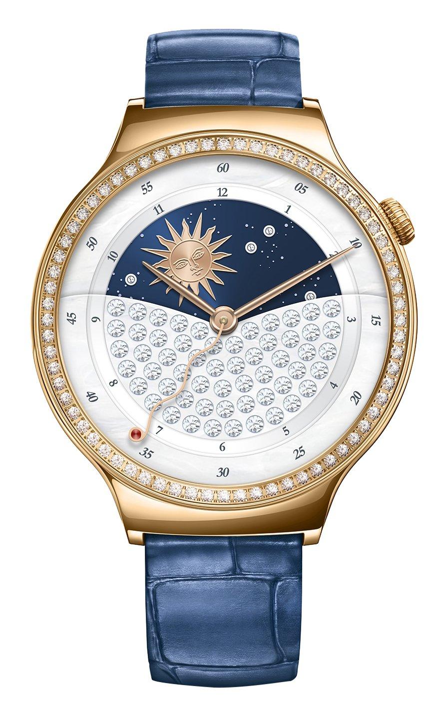 Huawei 55021238 Jewel Smartwatch mit Lederarmband - Edelstahl rosegold-blau