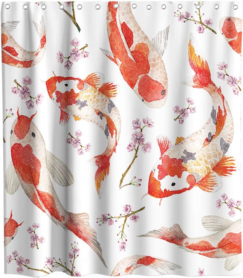 Koi Fish Shower Curtain Luck Animal River Fish Bring Kids Theme Fabric Bathroom Japanese Decor Sets with Hooks Waterproof Washable 70 x 70 inches Red and White