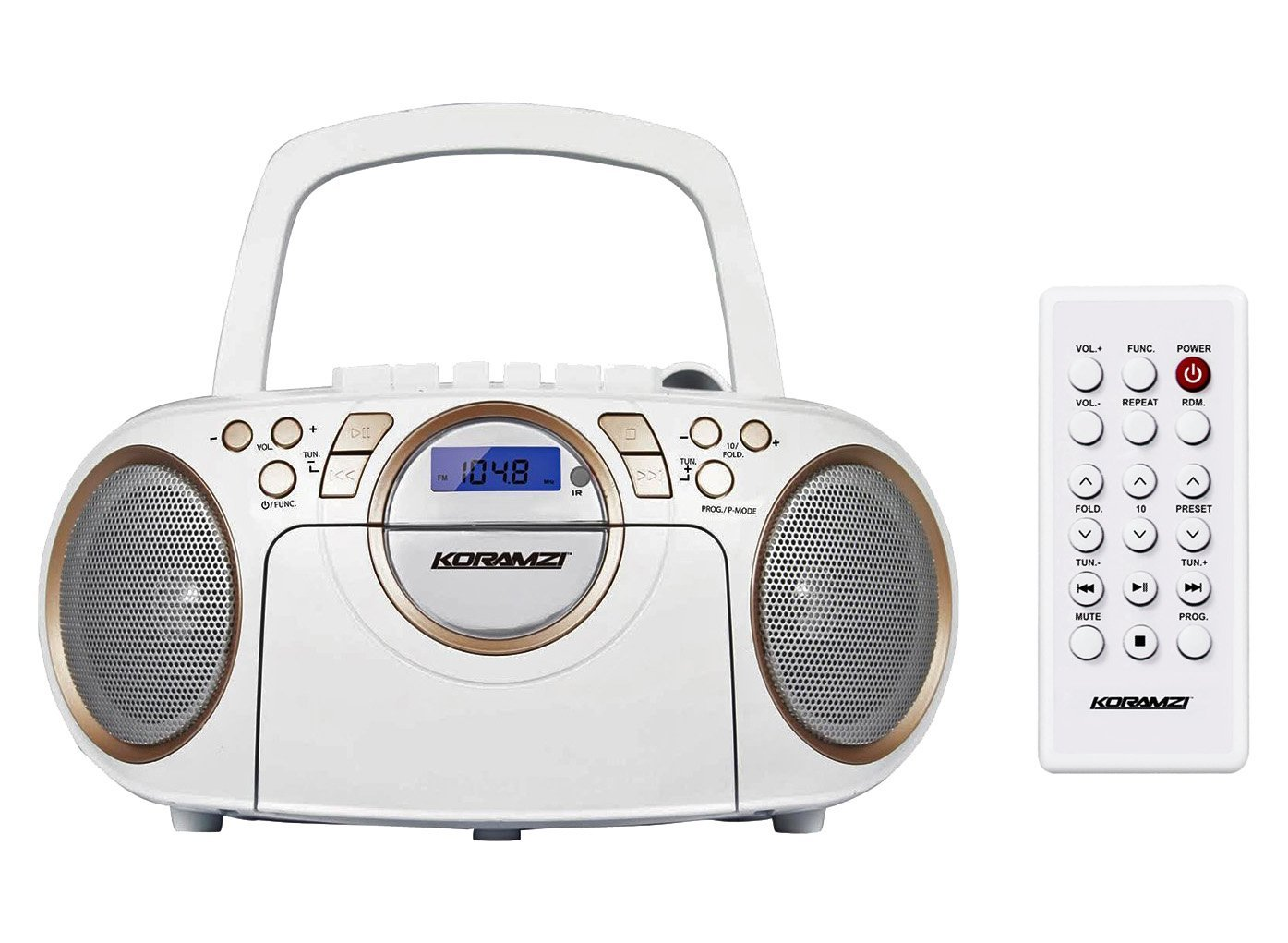 Koramzi Portable CD Boombox Full Range Stereo Sound System w/Top-Loading MP3 CD Player, Cassette Player and Recorder, AM/FM Radio, USB Input, Headphone & AUX Jack w/Remote Control- CD705CWH(White)