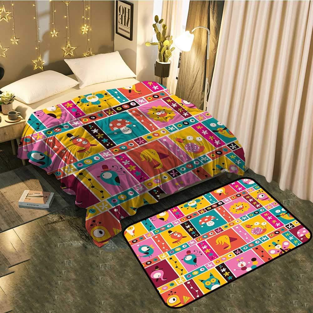 color04 Blanket 60 x78  Mat 5'X8' Bedside Blanket Doormat suitCute Moles in The Garden Digging The Flower Field Animal Baby Cartoon Print Cozy and Durable Blanket 60 x78  Mat 5'X8'