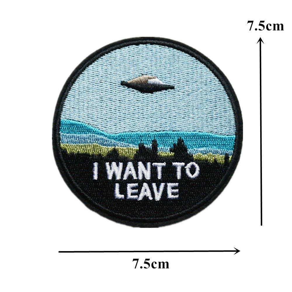 dreamshome Stickerei Fliegende Untertasse UFO Alien N/ähen auf//Eisen auf Patch Badge Tasche hat Jeans Stoff Aufn/äher