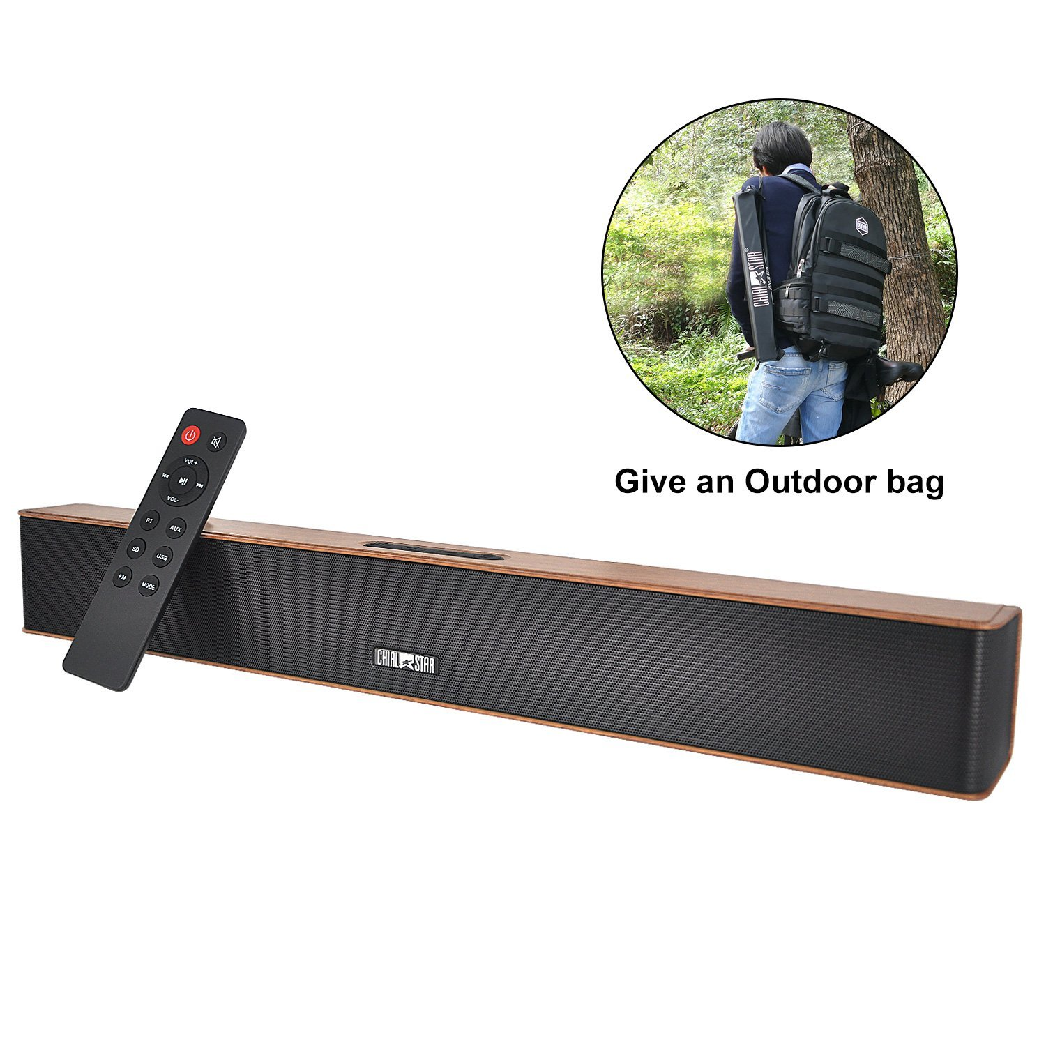 Wireless Sound Bar Brown Chialstar Portable Bluetooth Waterproof IPX5 Speakers Powerful Bass 21 Inch 12 hours Playing Time with Subwoofer Remote Control