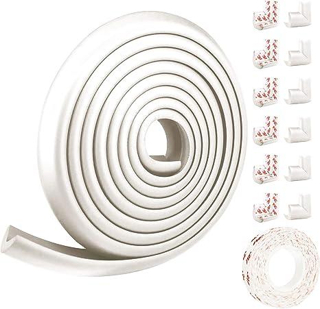 5M, 12 esquinas White Juego de protector de bordes y esquinas para prueba de beb/és Thicken,Protector de muebles y mesas a prueba de ni/ños,Juego de herramientas de seguridad para beb/és pre-grabados