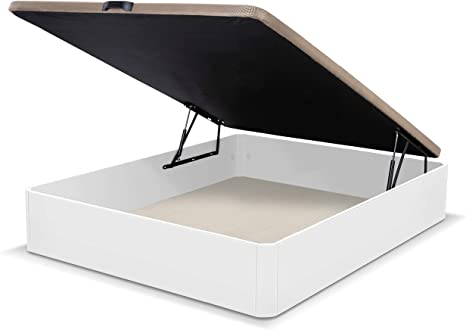 duehome Luxury-Canapé somier abatible Dormitorio, Base tapizada en Tejido 3D, Beige, Cama de Color Blanco, Medidas: 150 x 190 cm de Largo, MDF