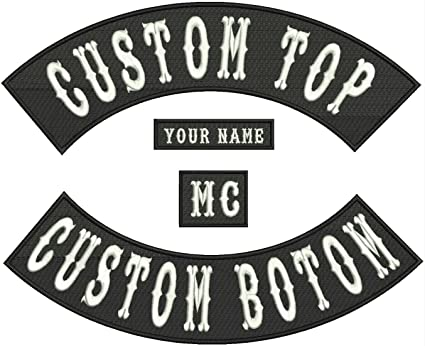 "Custom Embroidered 12/"" Full Vest Set Rocker Patch Biker Badge B 4 PC"