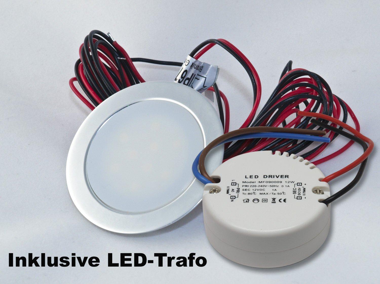 6er Set 12V LED-Boden- und Wandeinbauspot