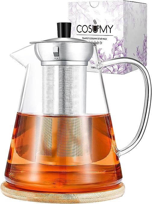 Cosumy - Tetera con Filtro de Acero Inoxidable (1300 ml, Cristal ...