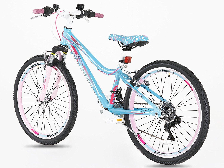 d4fd4a5439301 Hardtail Girls Alloy 24 Inch Mountain Bike - Light Weight Suspension  Mountain Bike- Blue  Amazon.co.uk  Sports   Outdoors