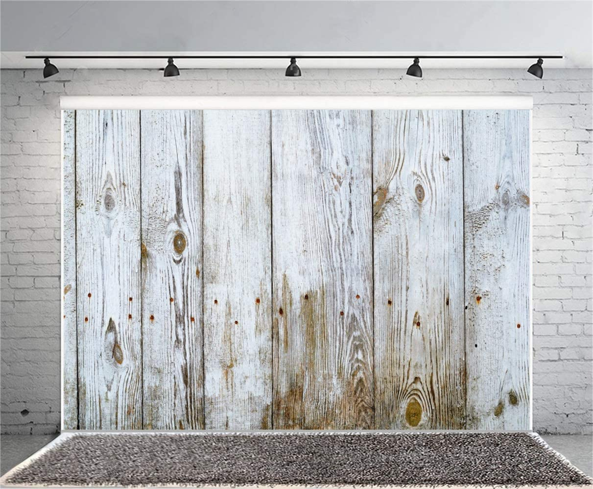 GoEoo 10x7ft Grunge Faded White Wood Texture Board Backdrop Vinyl Rustic Old Vertical Striped Wood Plank Background Child Adult Artistic Portrait Kid Clothes Dolls Toys Shoot Wallpaper Studio