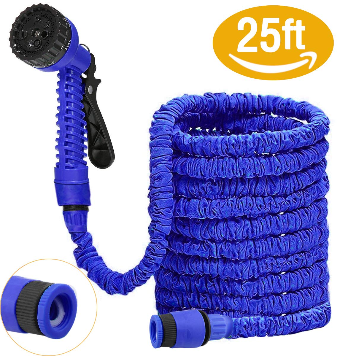 DAMIGRAM Expandable Garden Water Hose Pipe, 3 Times Expanding 25FT Flexible Lightweight Hose Pipe With 8 Function Spray Gun For Washing Car, Watering Flowers (Blue) Shenzhen Antop Technology. Ltd