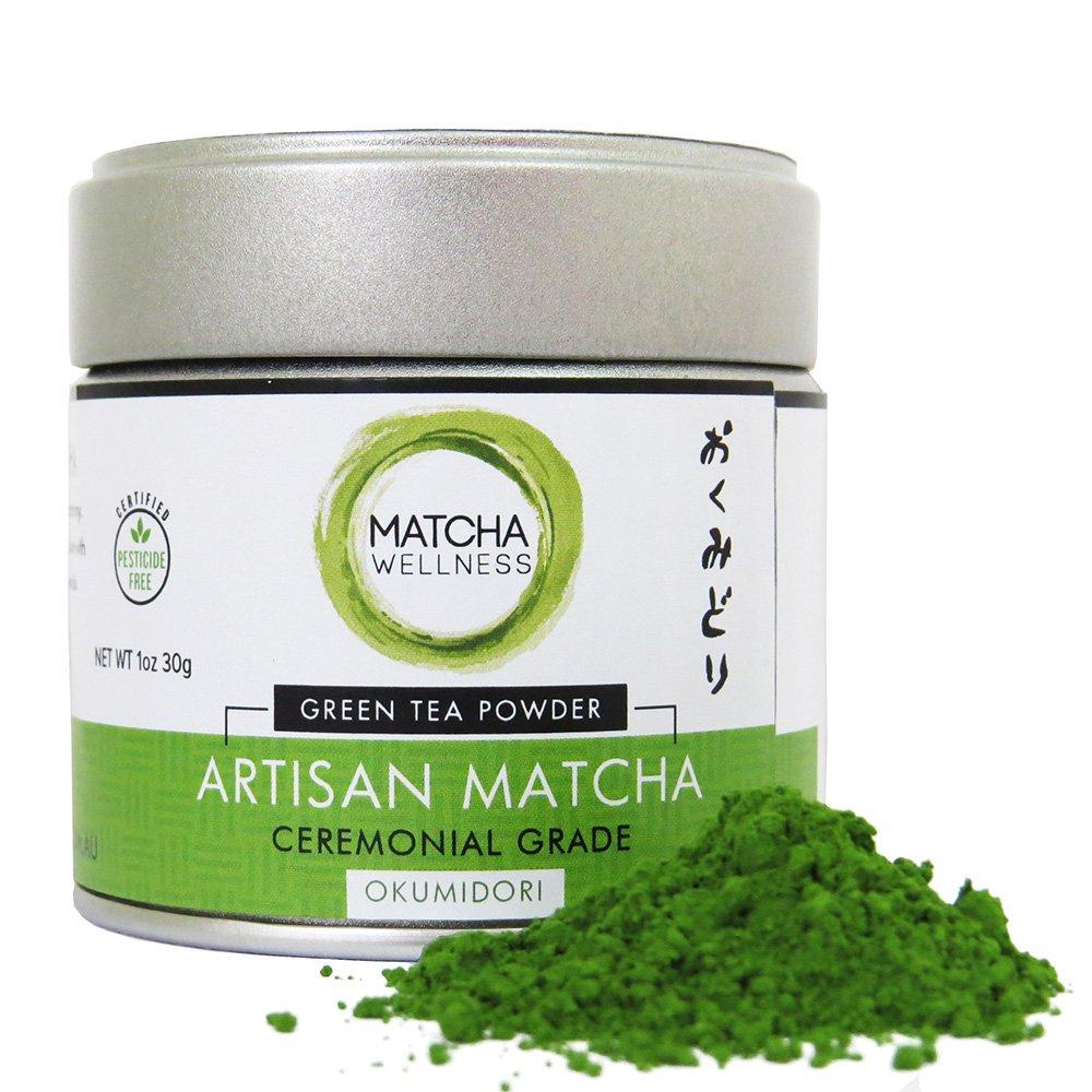 Matcha Green Tea Powder Ceremonial Grade - OKUMIDORI - JAS Organic From Japan, 1st Harvest Preimum Matcha, 100% Single Origin Okumidori Cultivar Leaves. By eco heed 1.05oz