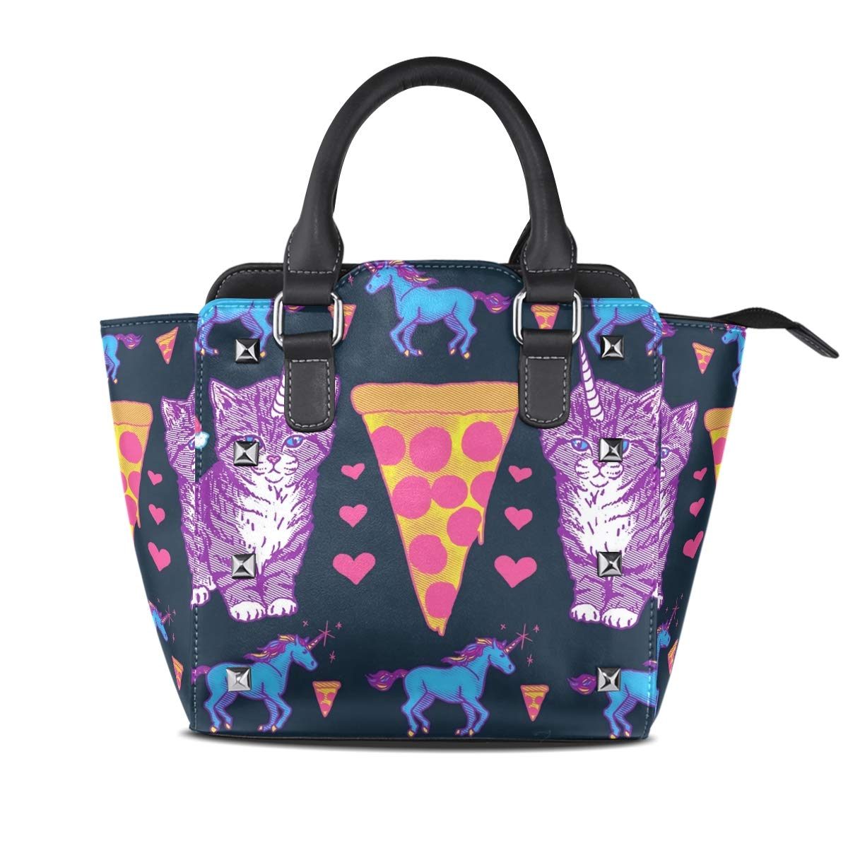 Design1 Handbag LongHorned Cat And Unicorn Genuine Leather Tote Rivet Bag Shoulder Strap Top Handle Women