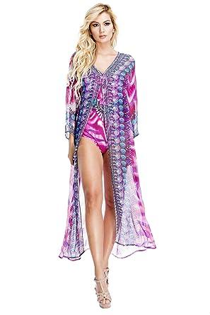 93853979bca1a La Moda Clothing Kimono Coverups in Engineered Prints with Matching Luxe  Swimwear   by GOGA Swimwear at Amazon Women's Clothing store: