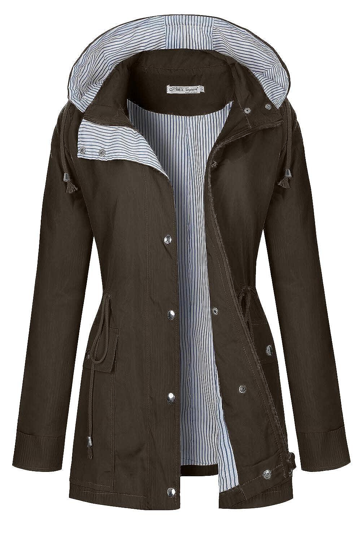 Dark Brown BBX Lephsnt Rain Coats for Women Lightweight Rain Jacket Active Outdoor Trench Coat