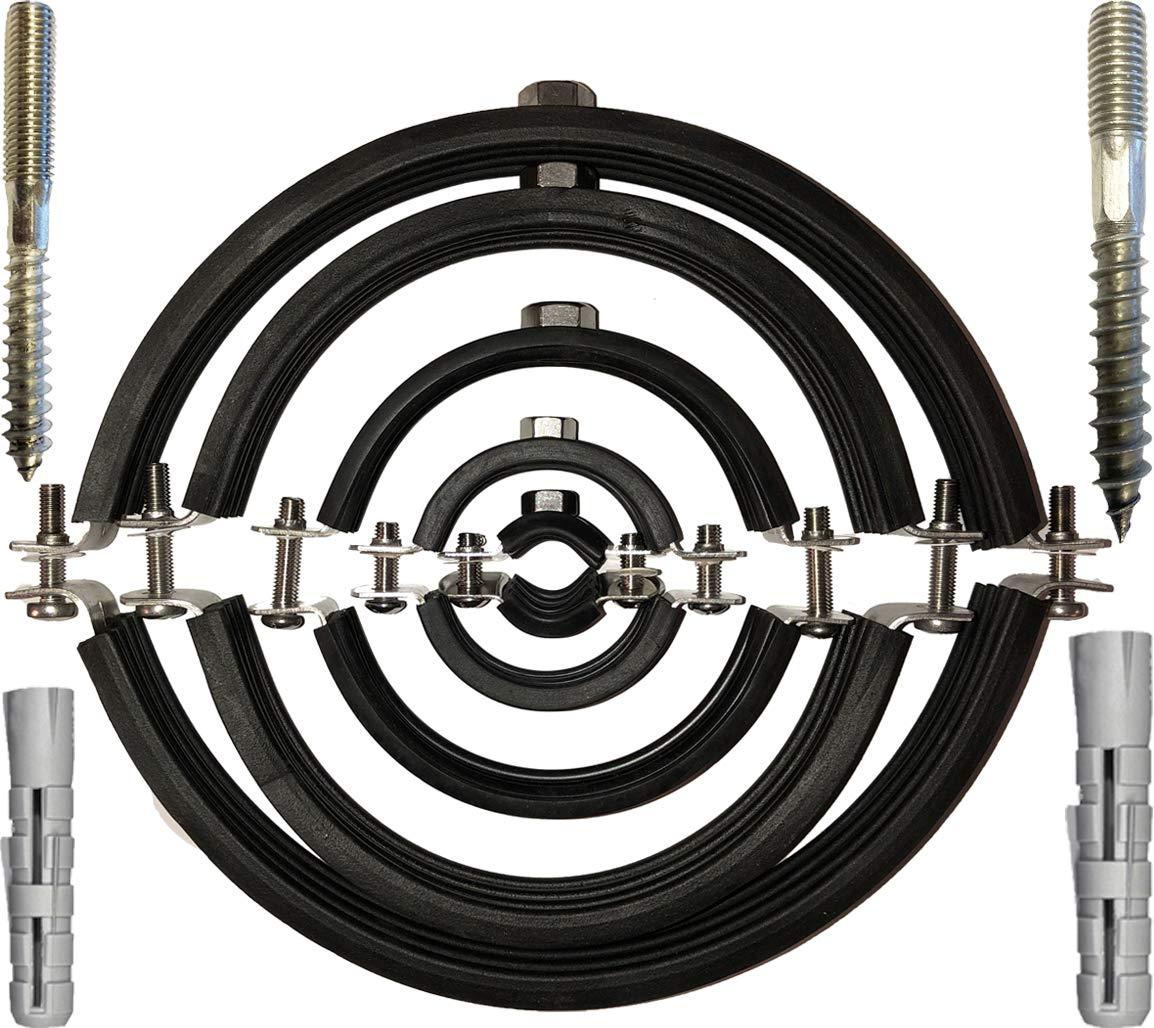 ROHRSCHELLE aus EDELSTAHL mit SCHALLSCHUTZEINLAGE Spannbereich 12 bis 207mm /Ø Rohr /¼ bis 8 Zoll MENGENRABATT  10 St/ück 32-35mm 1 Zoll Montage-Gewinde M8
