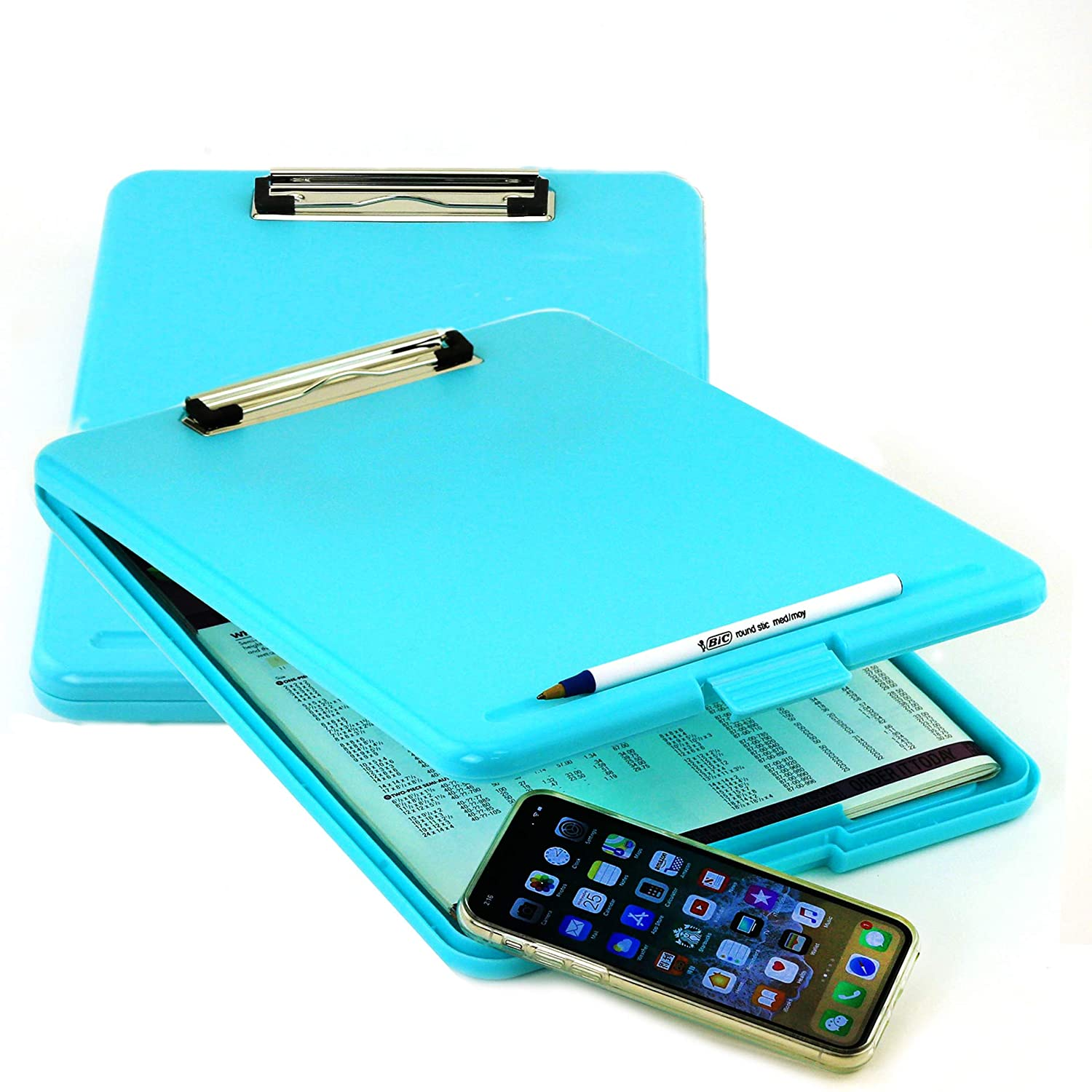 2PC Letter Size Plastic Storage Clipboard with Built-in Pen Holder (Blue) Praise