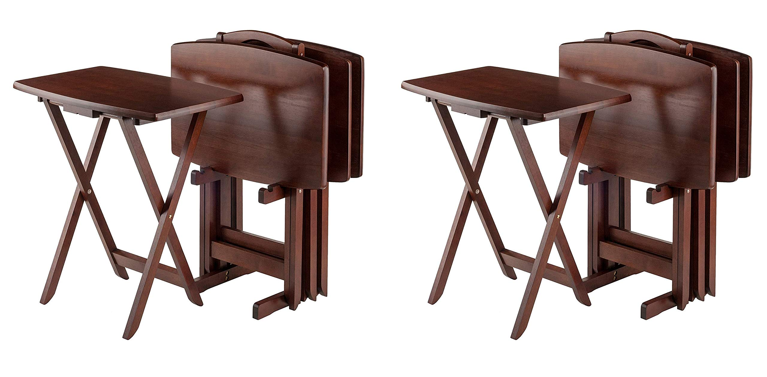 Winsome Oversize Snack Table Set, Walnut (Pack of 2) by Winsome Wood
