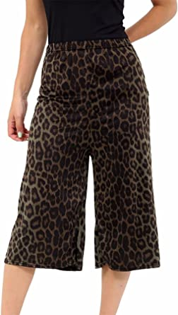Women/'s Ladies 3//4 Length Short Palazzo Wide Leg Culottes Causal Trousers Pants