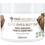 PraNaturals Burro di Karitè 100% Naturale Idratante Protezione UV per tutti i tipi di pelle - riduce l'acne, le cicatrici, le smagliature, la cellulite, l'eczema e la pelle secca - idrata e ripara i capelli, le mani, i piedi, il corpo, i gomiti, le ginocchia ed è ricco di vitamine, grezzo, puro e non raffinato (300ml)