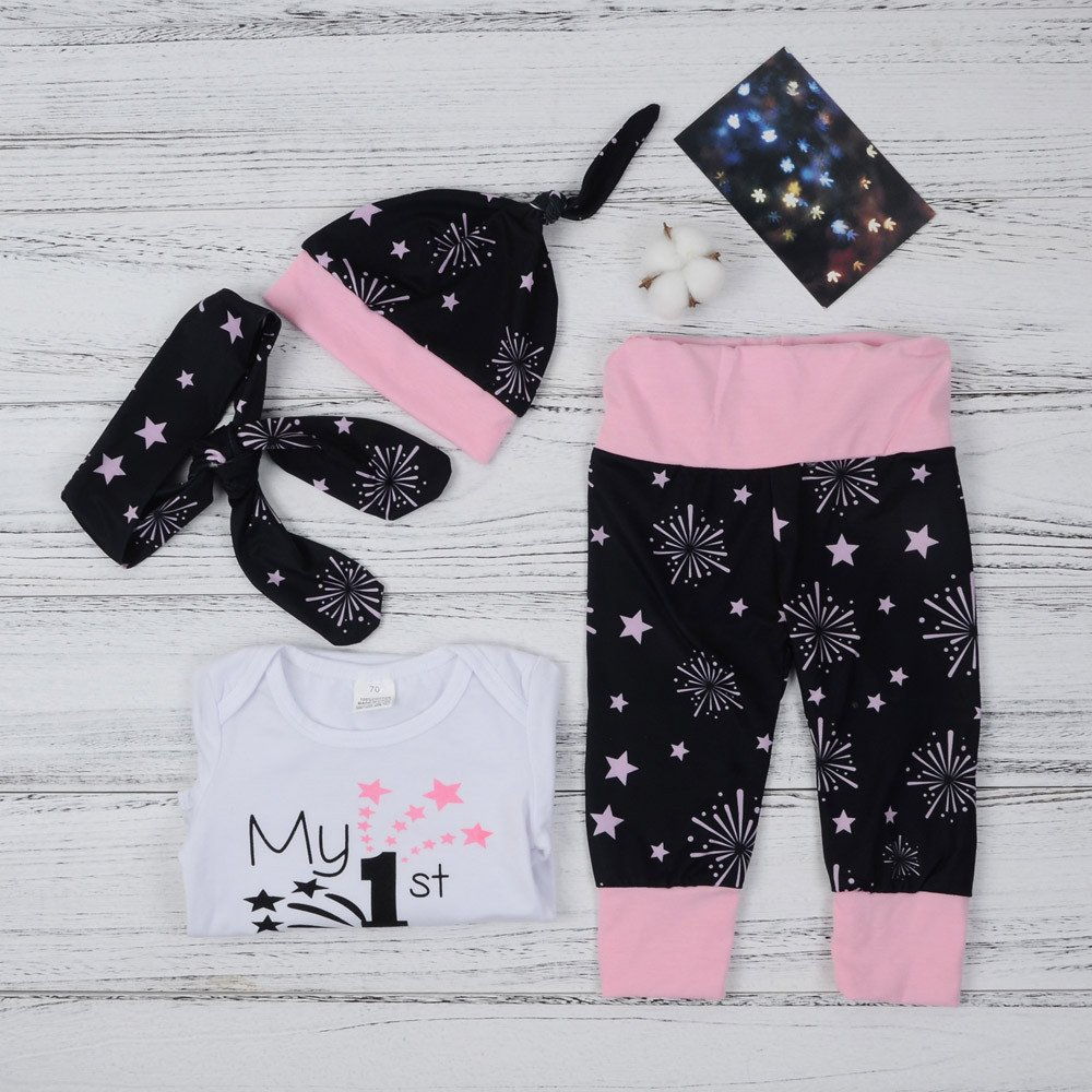 Buedvo Newborn Baby Girls Boys My First Year/'s Letter Print Christmas Outfits Clothes Romper+Pants+Hat Headband Set