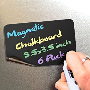 Magnetic Chalkboard Notes - 5.5 x 3.5 inch, 6 Pack, Rectangle - Decorative Magnet Blackboard for Fridge, Kitchen Organizer, Decor, Office, Grocery Lists, Metallic Boxes, Storage and More