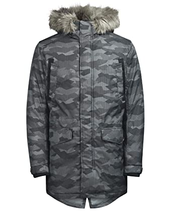 3799a13a9800 JACK   JONES Herren Land Parka Jacket, Grau (Schwarz Camouflage (Black  Camouflage Detail