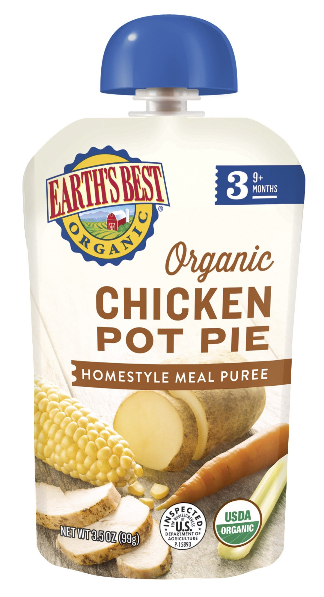 Earth's Best, Organic Baby Food, Stage 3, Chicken Pot Pie, 3.5oz Pouch by Earth's Best (Image #1)