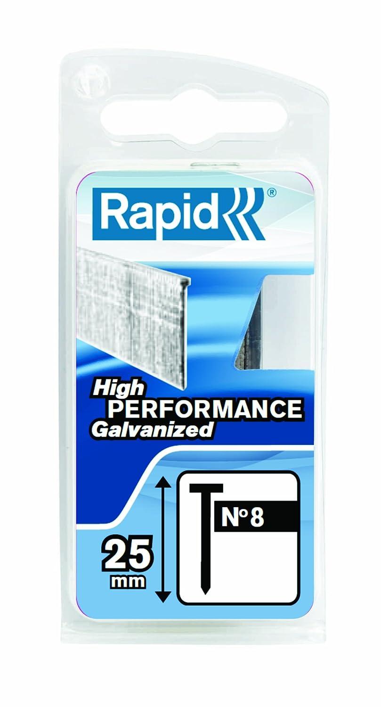 Rapid, 5000183, Pointes N° 8, 25mm de longueur, 5600 piè ces, Fil galvanisé , Haute performance Pointes N°8 5600 pièces Fil galvanisé