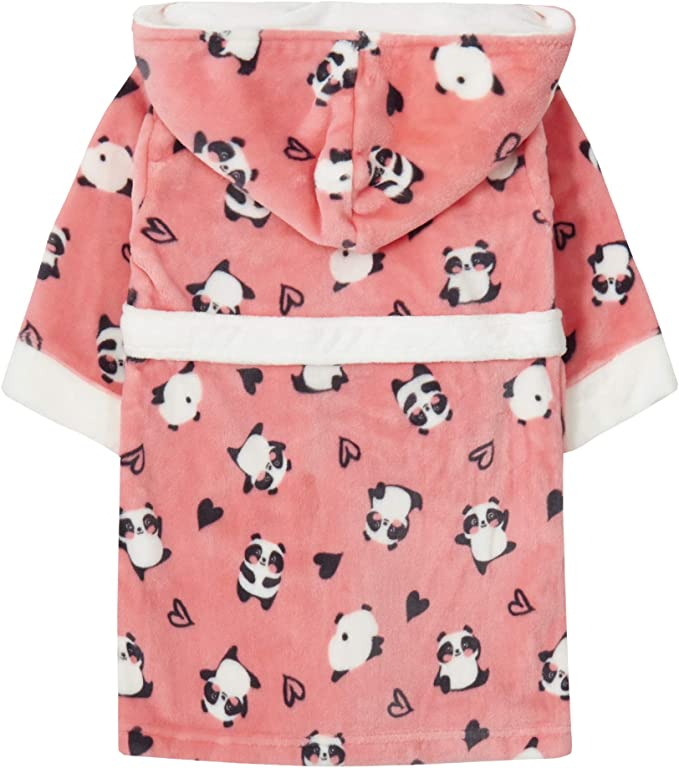 Childrens Panda Print Pink Fleece Dressing Gown 2-6 Yrs Girls
