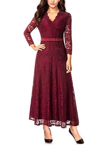 04bbc35157a5b Noctflos Women s Scalloped Long Sleeve Evening Party Wedding Lace Maxi Dress  S Red