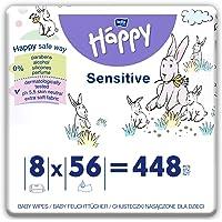 bella baby Happy Vochtige doekjes Sensitive met kliksluiting, verpakking van 8 stuks (8 x 56 stuks) zacht en zacht voor…