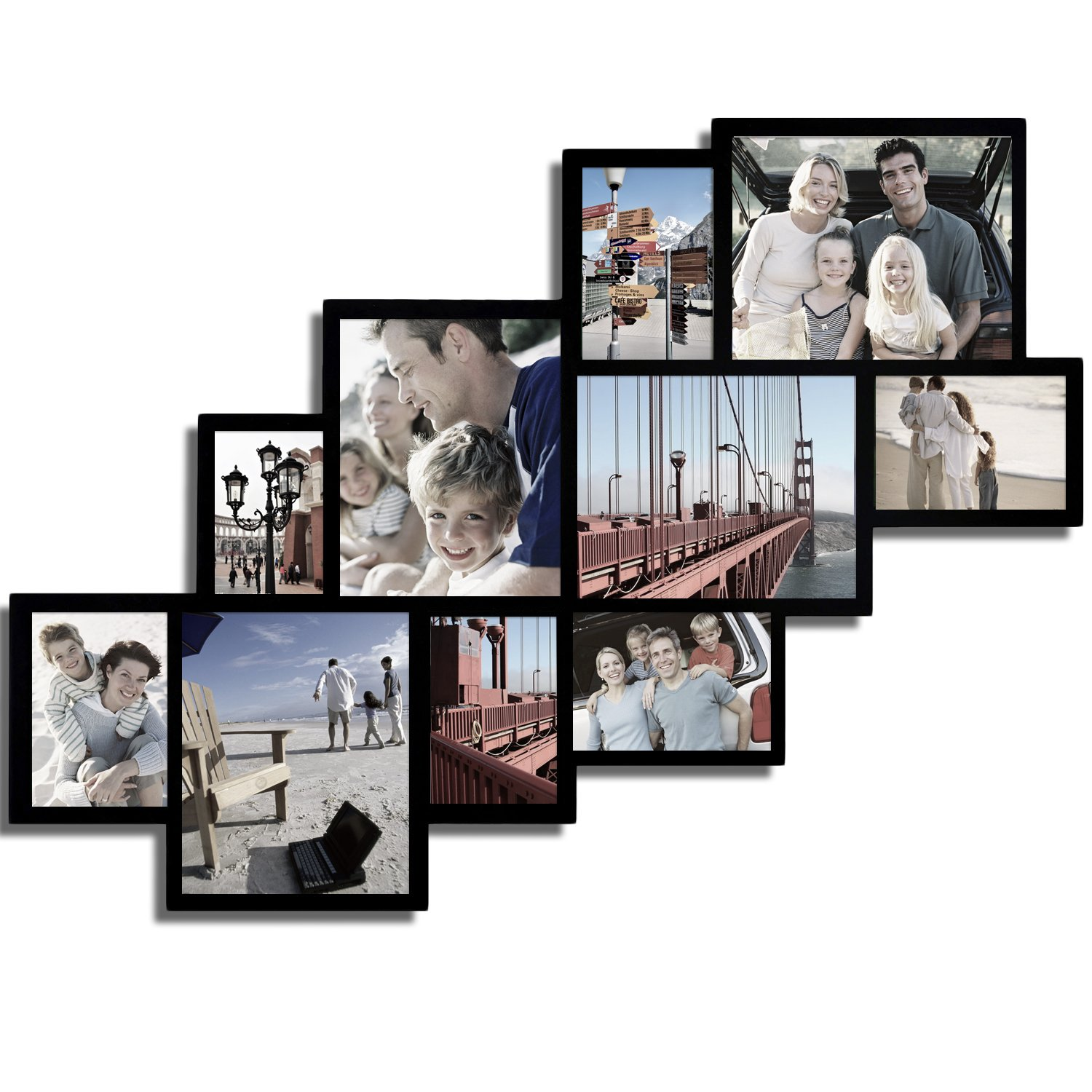 Amazon adeco decorative black wood wall hanging picture amazon adeco decorative black wood wall hanging picture photo frame collage 10 openings clustered various sizes 4 8x10 5 5x7 one 4x6 jeuxipadfo Images