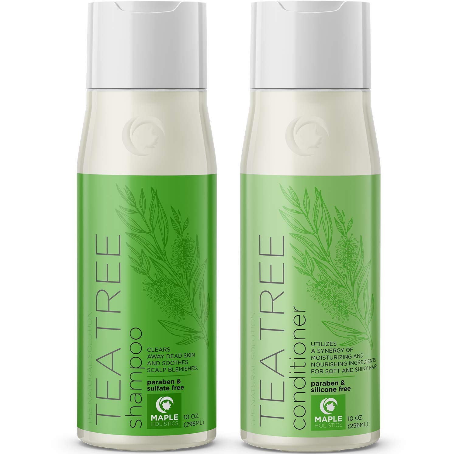 Tea Tree Shampoo and Conditioner for Color Treated Hair - Sulfate Free Anti Dandruff Hair Care for Women and Men - Natural Itchy Scalp Cleanser - Hydrating Deep Conditioner for Dry Damaged Hair -10 oz by Maple Holistics