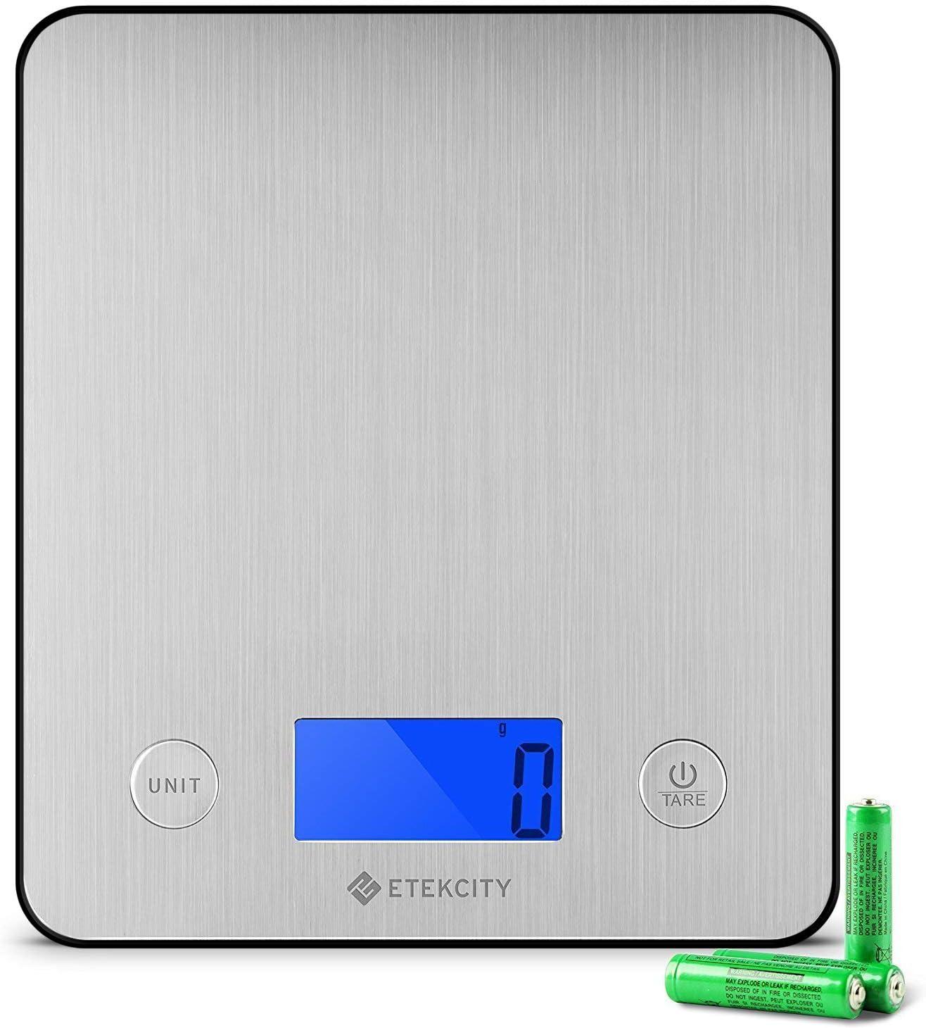 Etekcity Báscula Digital para Cocina, Básculas para Cocina de Acero Inoxidable Electrónicas con un más de 30% Exhibición de Plataforma y Retroiluminación, 11 lb / 5 kg, Diseño Ultra Delgado, Plateado