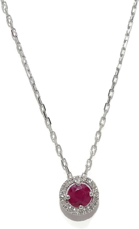 Never Say Never Precioso Collar con 0.06cts de Diamantes y un rubí de 4mm Oro 18Ktes. 40cm