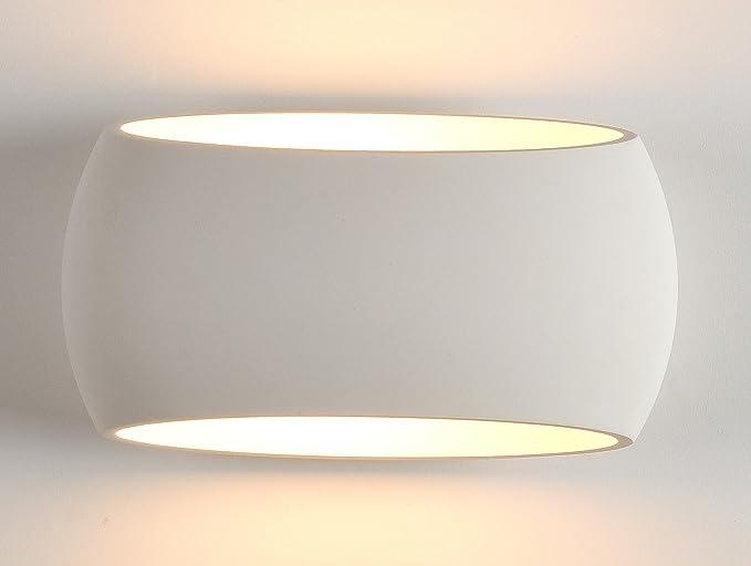 Applique portalampada led da muro e27 30x17 cm in resina di gesso