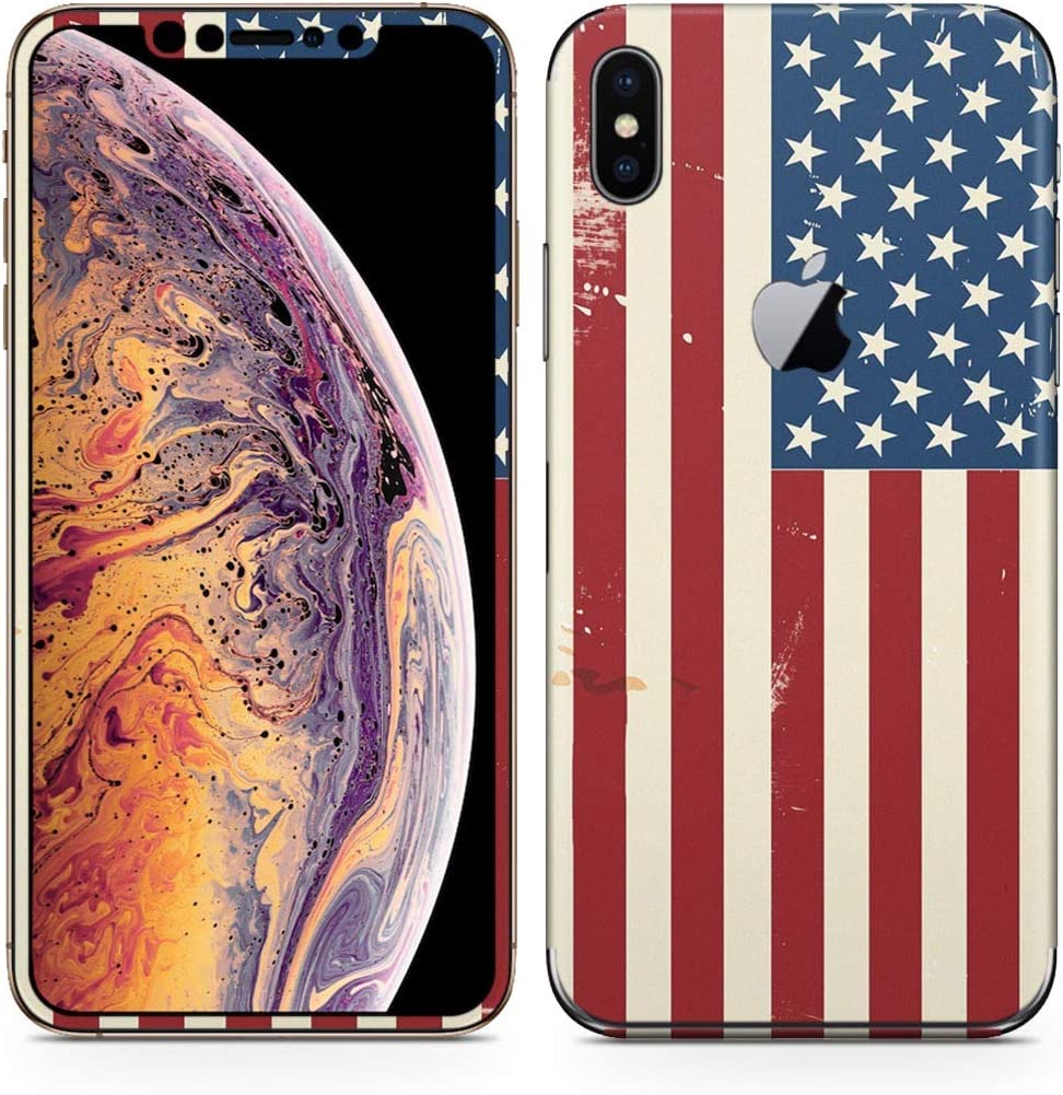 igsticker iPhone Xs Max Skin Sticker Full Body Coverage Vinyl Decal - Dustproof Anti-Scratch for Apple iphonexs max xsmaxfull-011606-ds America Foreign Countries National Flag