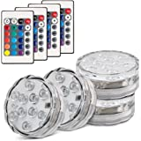 Topist Submersible LED Light, 10-LED RGB Waterproof Battery Powered Lights with IR Remote Controller for Aquarium, Vase Base, Pond, Swimming Pool, Garden, Party, Weeding, Christmas, Halloween,4 Pack