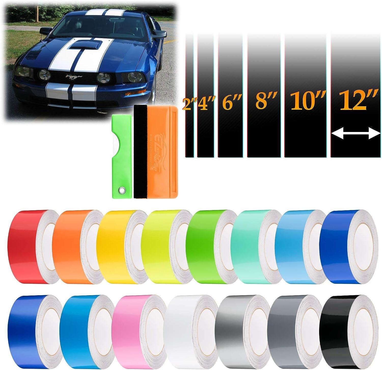 EZAUTOWRAP Free Tool Kit 6 Wide 20FT Long Gloss Glossy Intense Blue Racing Stripes Vinyl Wrap Rally Decals Stripe Sticker