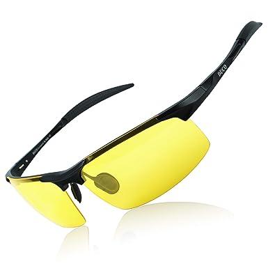 b559ede1858 DUCO Mens Sports Golf Polarised Sunglasses For Men Driving Glasses UV  Protection 8177s (Black Frame Yellow Lenses)  Amazon.co.uk  Clothing
