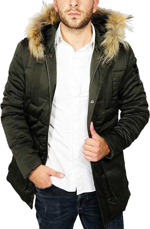 Giubbotto Parka Uomo Invernale Impermeabile con Cappuccio Verde Nero Blu Giaccone Casual Cappotto Giacca con Pelliccia (Nero, L)