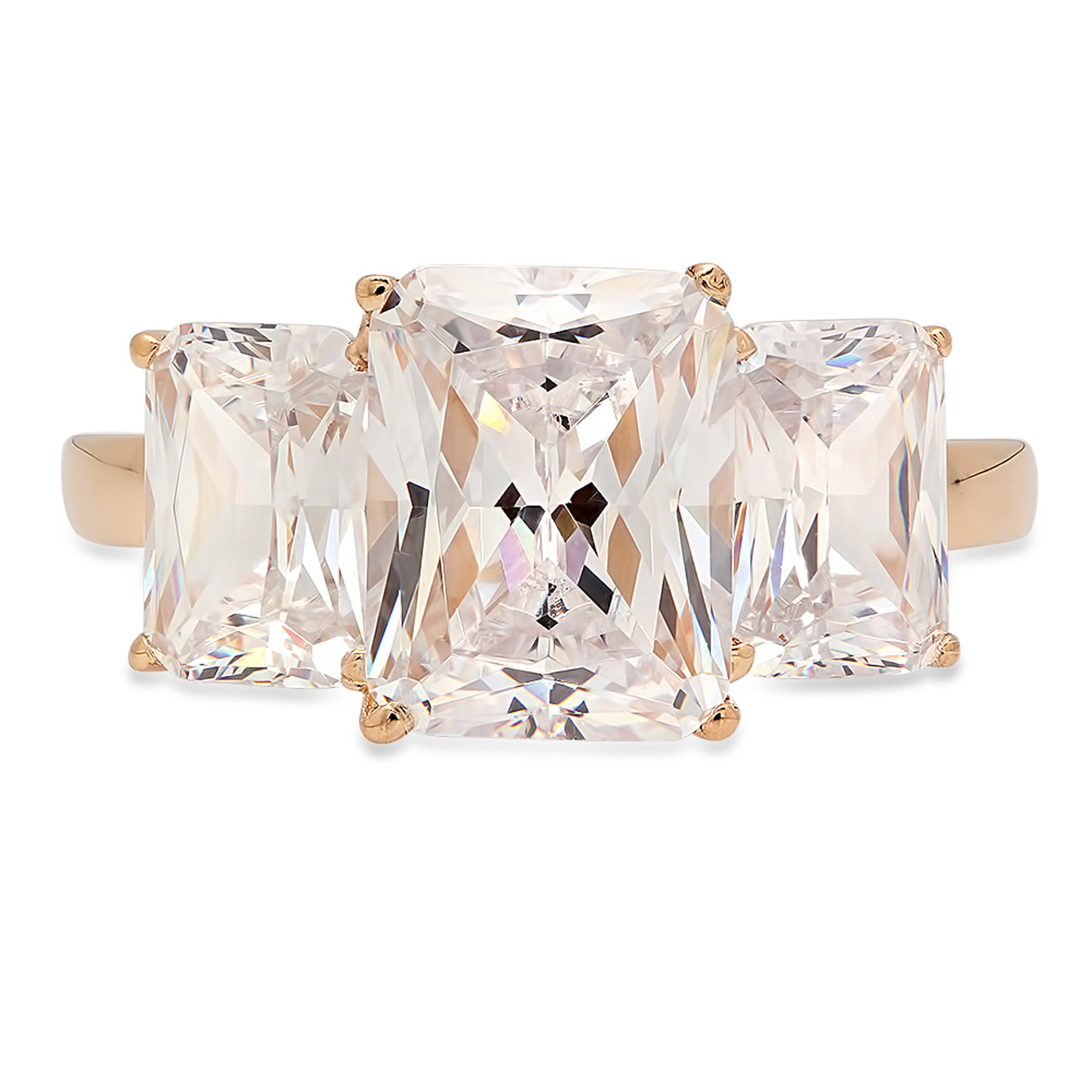 Clara Pucci 4.20ct Three Stone Emerald Cut Solitaire Promise Ring Engagement Wedding Anniversary Band 14K Yellow Gold, Size 7