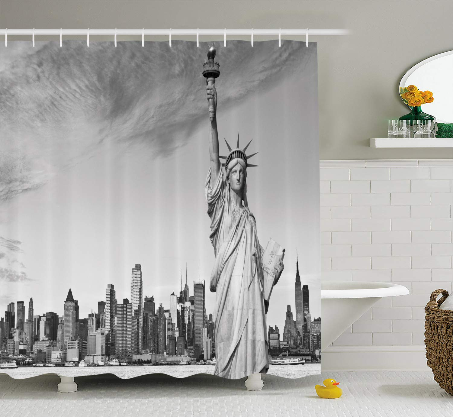 Ambesonne New York City Shower Curtain Statue Of Liberty Famous American Monument Landscape Illustration Fabric Bathroom Decor Set With
