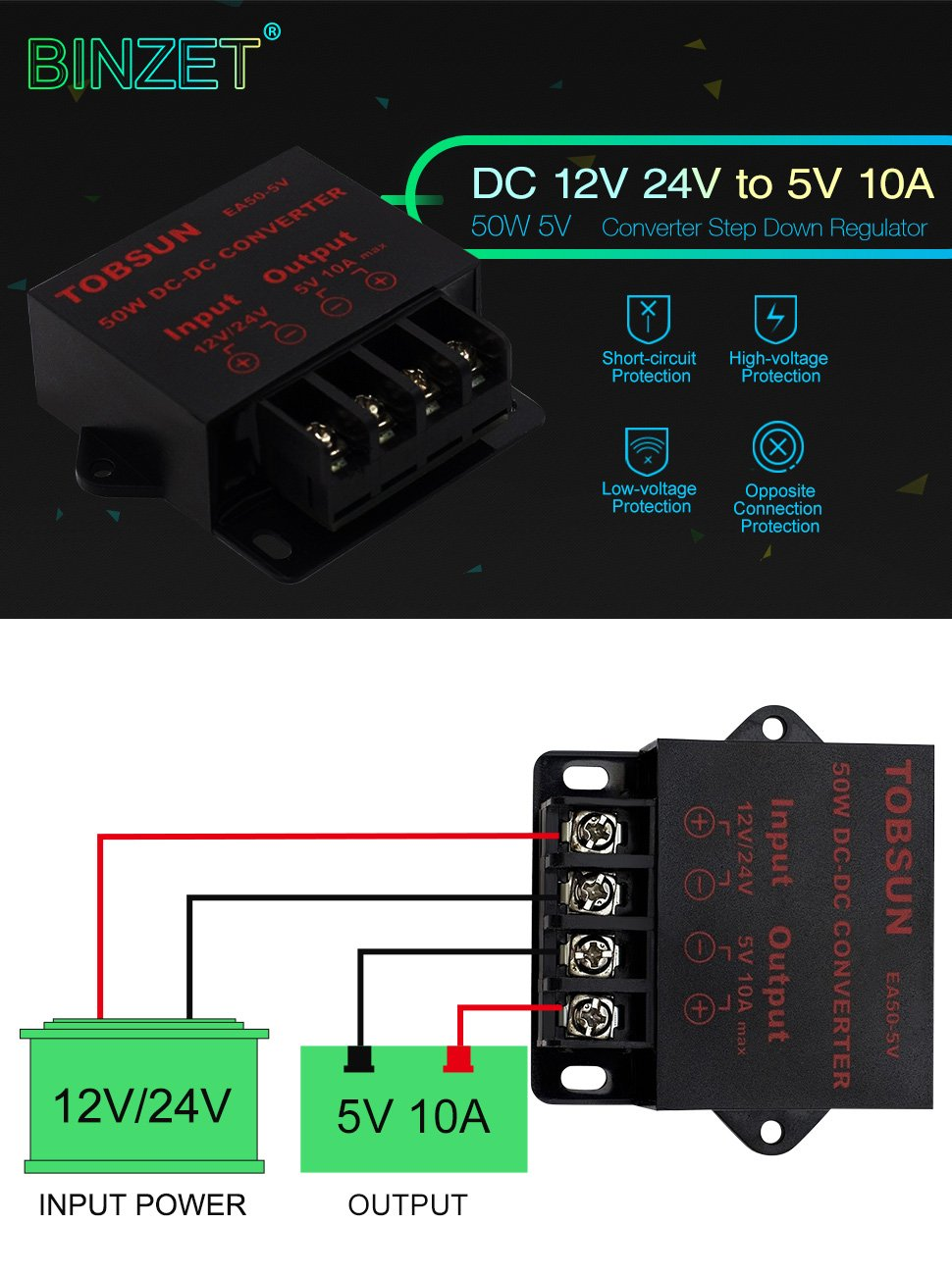 DUMVOIN DC Convertisseur 24V /à DC 5V 3A 15W Converter Step Down Regulator Module Transformer Power Supply R/égulateur de Tension