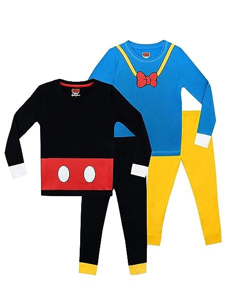 Disney Pijamas para Niños 2 Paquetes Ajuste Ceñido Mickey y Donald: Amazon.es: Ropa y accesorios