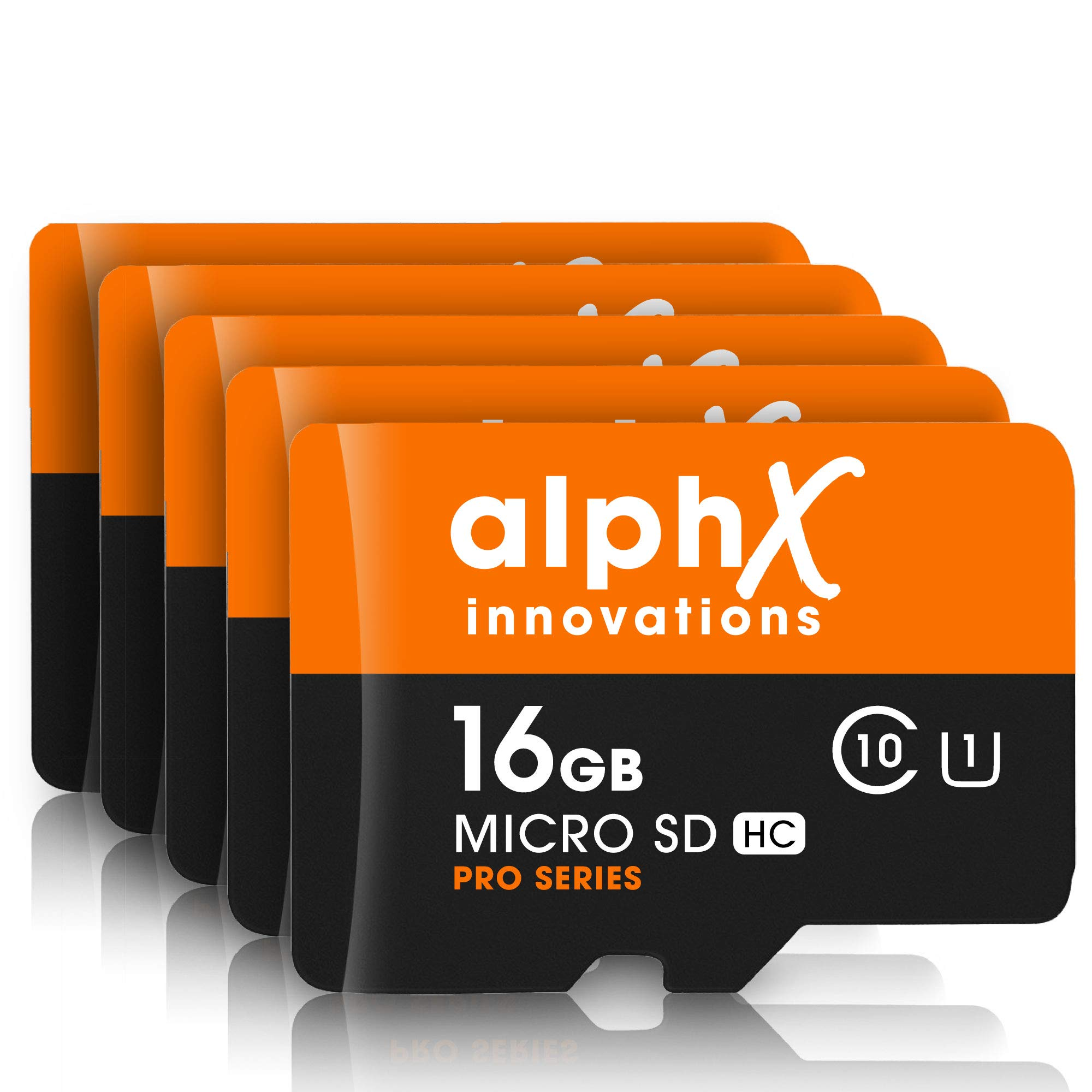 7 Piece Bundle - AlphX 16gb [5 pack] Micro SD High Speed Class 10 Memory Cards for Samsung Galaxy S9, S9+, S8, Note 8, S7, S5, S4 with Bonus Adapter and Sandisk Micro SD Card Reader