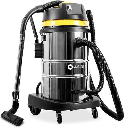 Klarstein IVC-50 • Aspirador industrial • Sin bolsa • En seco y húmedo • 2000 W • Protección IP X4 • Motor doble • Recipiente de 50 L de acero inoxidable • Cierres metálicos • Filtro HEPA • Amarillo: Amazon.es: Hogar