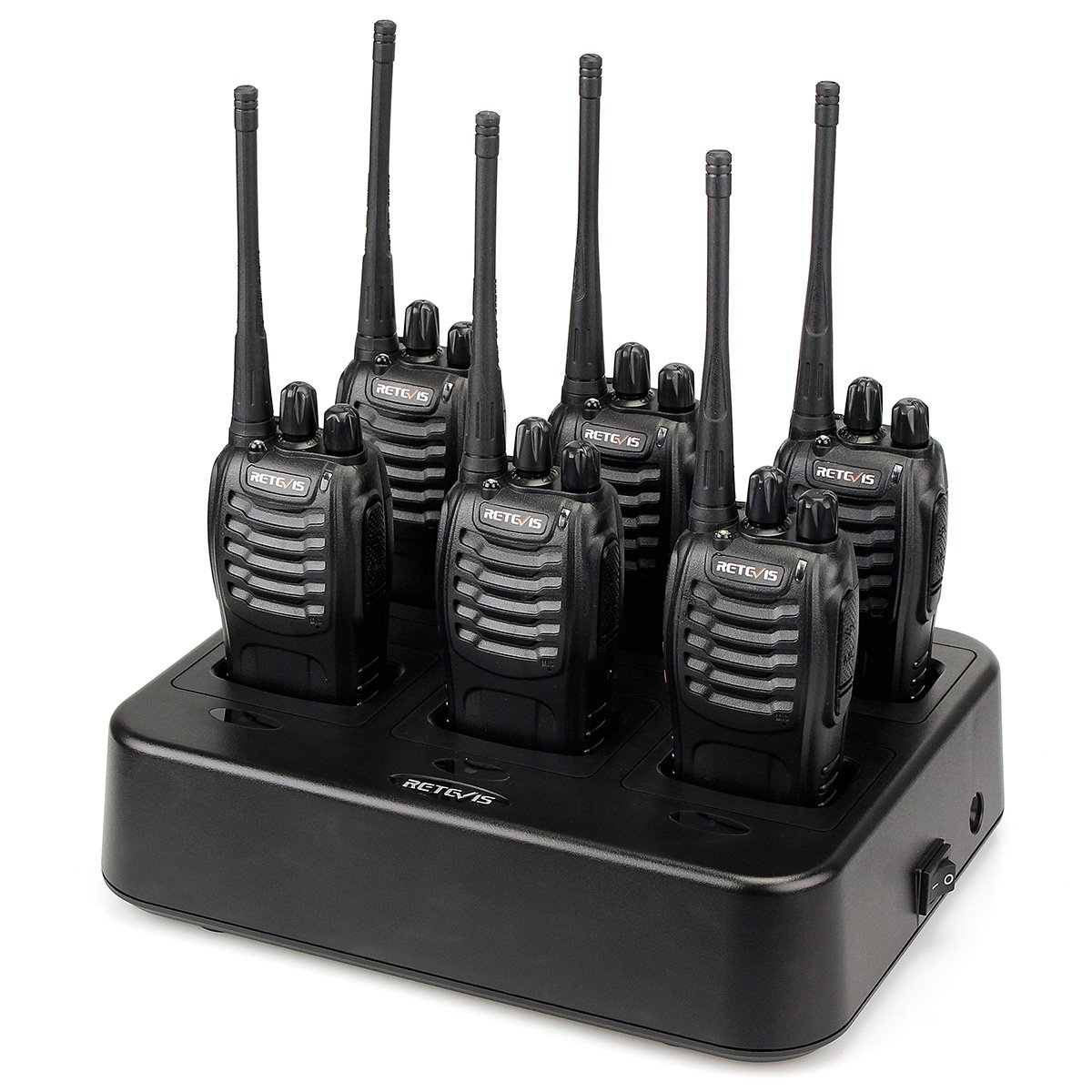 6 Pack Retevis H-777 Walkie Talkies Rechargeable 16 CH UHF Single Band Flashlight 2 Way Radios with 6-Way Multi Unit Charger A0144A*5+J0012A-US